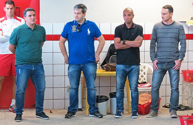 Da esquerda para a direita, a nova cúpula do futebol noroestino: Tuca Guimarães (treinador), Reinaldo Mandaliti (vice de futebol), Marcelo Santos (auxiliar técnico permanente) e Alex Afonso (gerente de futebol)