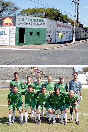 Fachada do estádio e Palmeirinha em campo, em 2005, em fotos de Emerson Ortunho, do excelente Jogos Perdidos