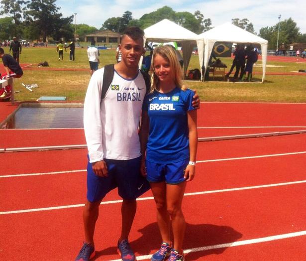 Cleverson e Tatiana: atletas da ABDA Atletismo no Sul-Americano. Fotos: Reprodução