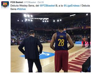 Postagem do twitter oficial do Barça Lassa, no exato momento em que eles estreava na ACB
