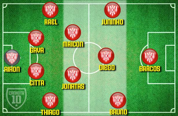 O 4-5-1 de Sangaletti: variação defensiva do 4-4-2 inicial, com o recuo de Bruno Rodrigues